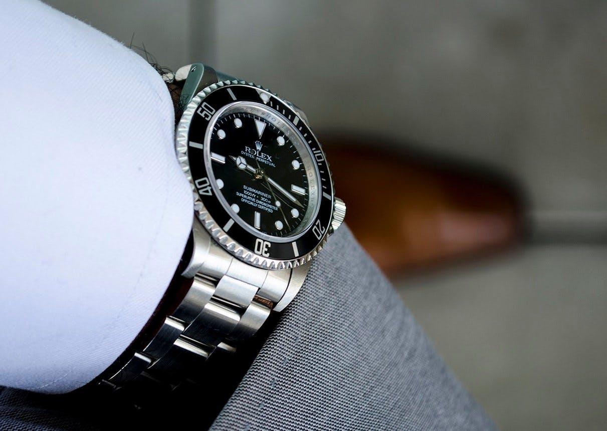 Rolex Submariner wristshot with shirt cuff