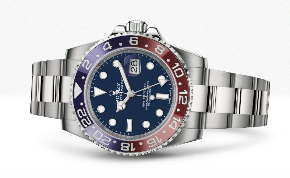 New Rolex GMT Master II Pepsi in white gold 116719BLRO