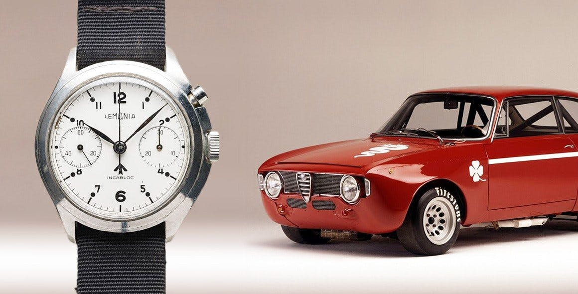 Lemania Monopusher Chronograph and Alfa Romeo GTA