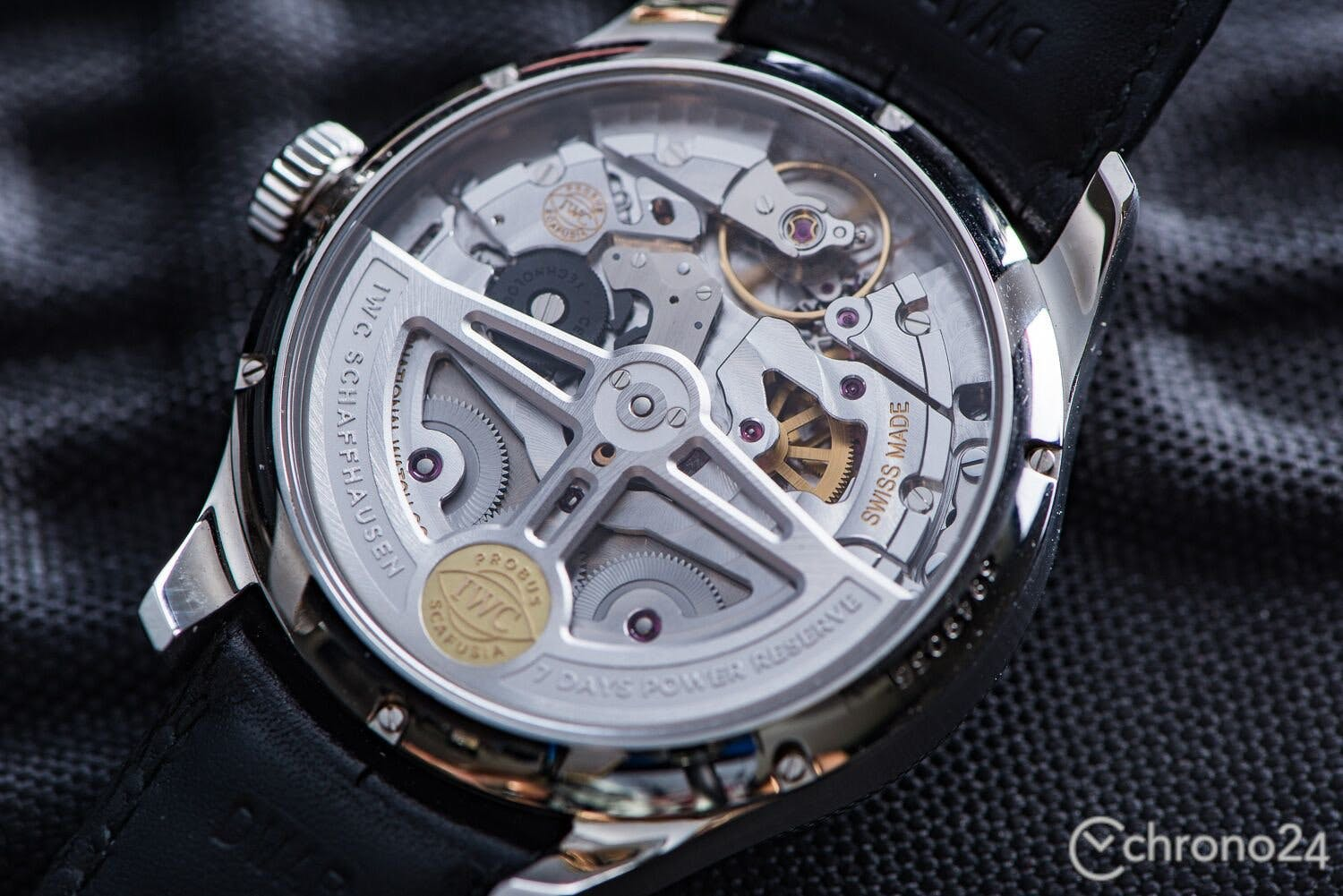 The black ceramic components of IWC's Pellaton winding system stand out from the rest of the movement.