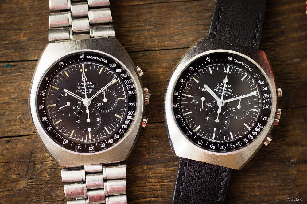 """Two Vintage Omega Speedmaster Mark IIs – the watch on the left is """"more original"""" than the watch on the right, Image: Zeigr"""