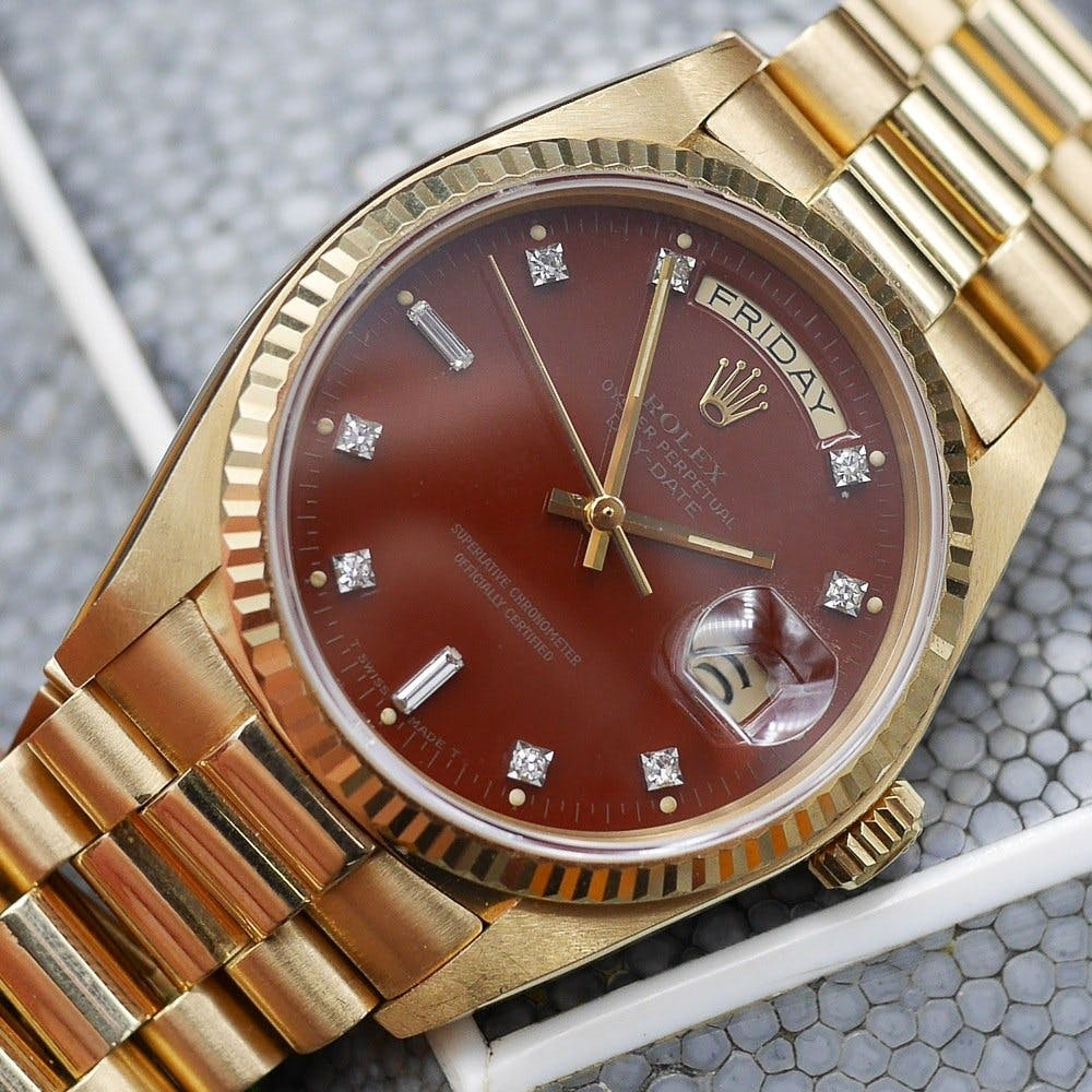 Rolex Day-Date with a Stella oxblood dial