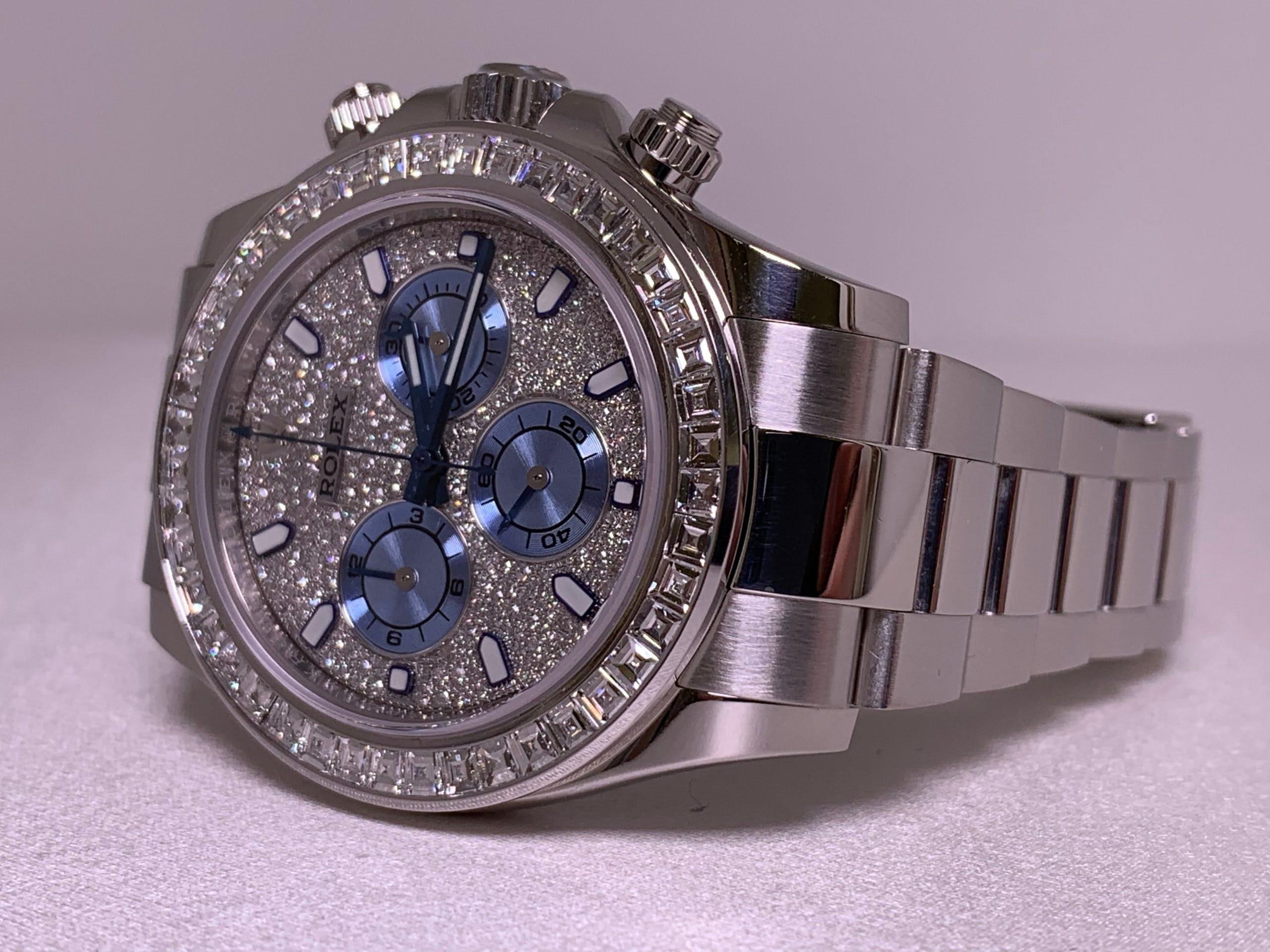 Diamanten satt: die Rolex Daytona 116575TBR mit Pavé-Zifferblatt und Diamantlünette.